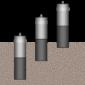 GMP343-Sonden in verschiedenen Tiefen eingegraben.