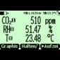 LCDabbildung des GM70 mit 2 Sonden